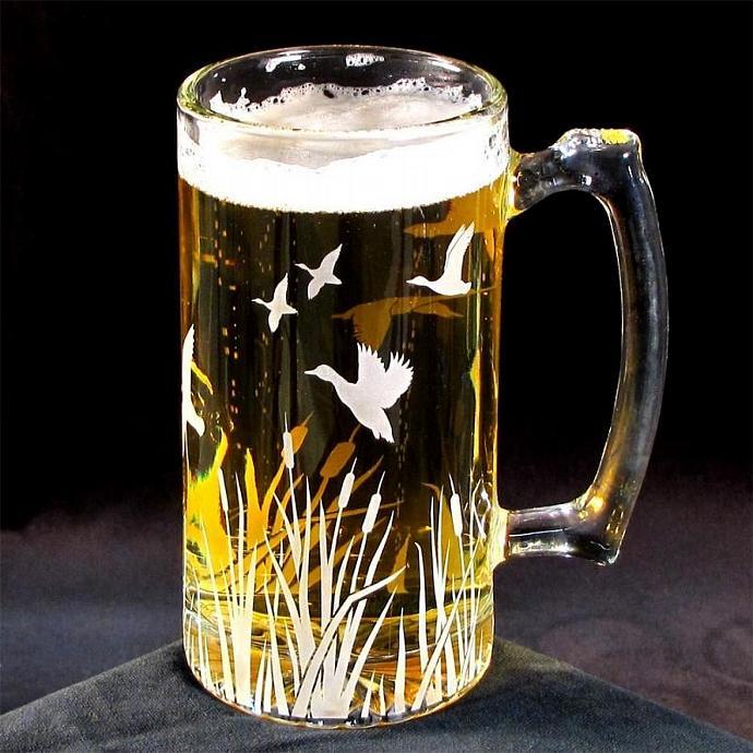 Relatively Beer Mug Stein Flying Duck Migration Glass by bradgoodell on Zibbet MK01