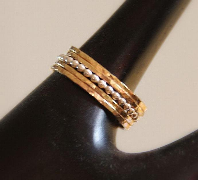 Set of 5: 4 stacking rings in 14k gold filled and 1 beaded, dotted stack ring in