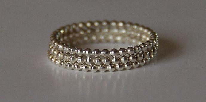 TRIO - Beaded / Dotted Sterling Silver Stacking / Stack / Stackable Rings