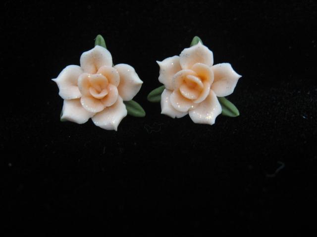 Peach Floral Post Earrings