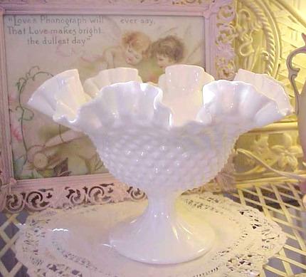 Vintage Hobnail Ruffled Edge Milk Glass Bowl