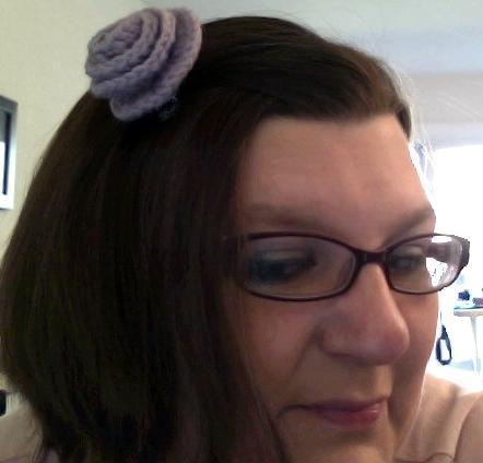 Lavender Rosette Hair Clip