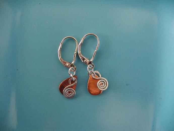 Copper Teardrop/Silver Earrings