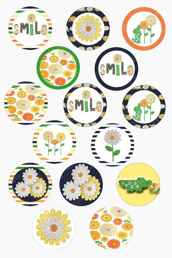 M2MG Daisy Days Digital Image Collage 1 inch Circles