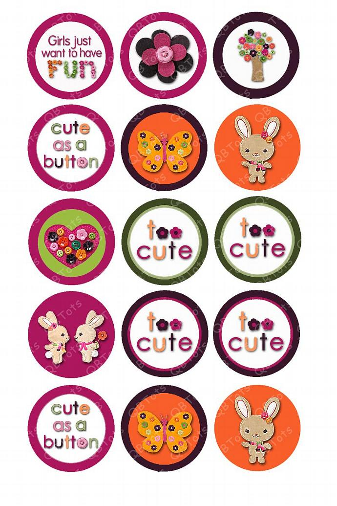 M2MG Cute As A Button Digital Image Collage 1 inch Circles
