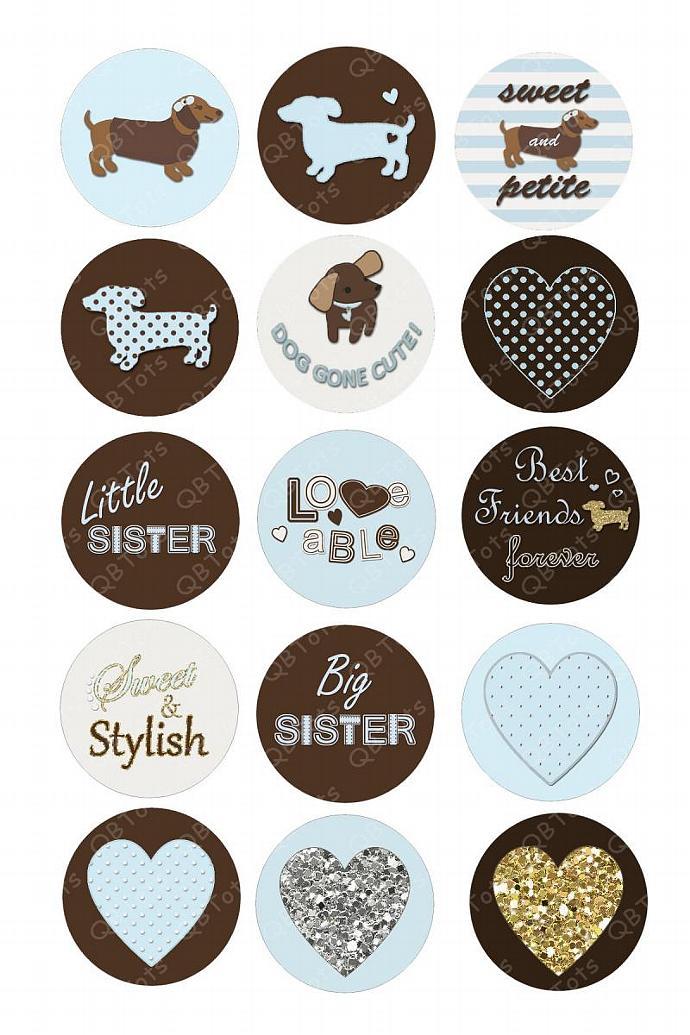 M2MG Girls Best Friend Digital Image Collage 1 inch Circles