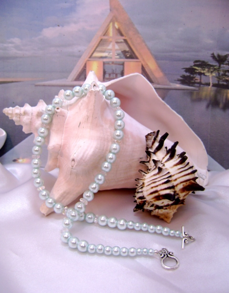 Celadon Aqua & Crystal Single-Strand Necklace