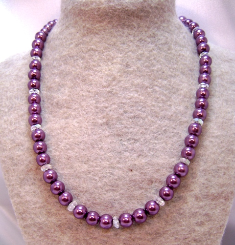 Burgundy Merlot & Crystal Single-Strand Necklace