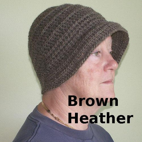 Crocheted Flapper-Style Cloche Hat / Brown, Gray, or Blue