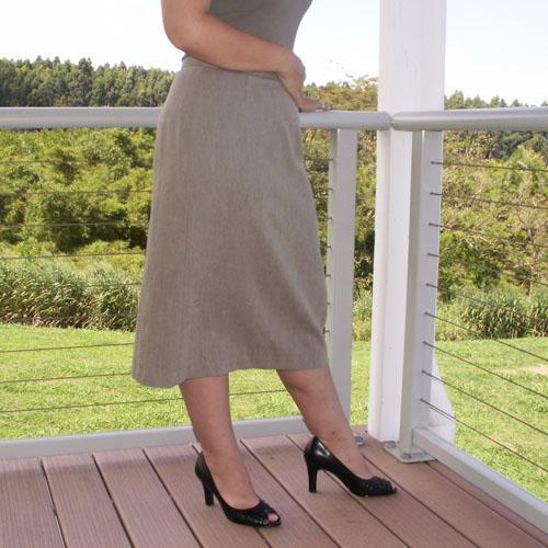 Twill Pencil Skirt, Sizes Small, Medium