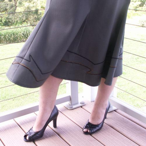 6 Gore Boot Skirt with Decorative Stitching, Sizes S, M, L