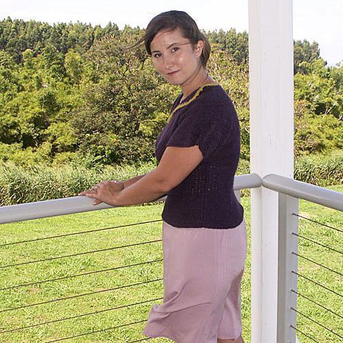 Purple & Gold Short Sleeve Cotton Sweater - Size Medium