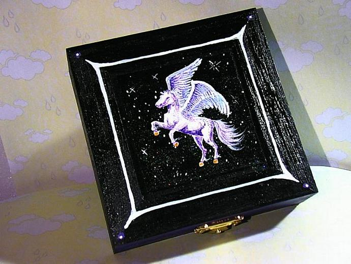 Wood Pegasus Box hand painted with detailed interior- get your name on it