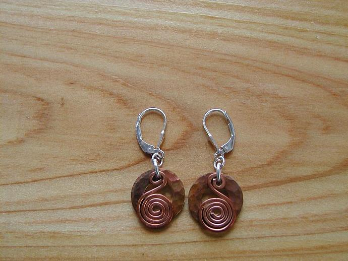 Handcrafted Copper on Copper Earrings