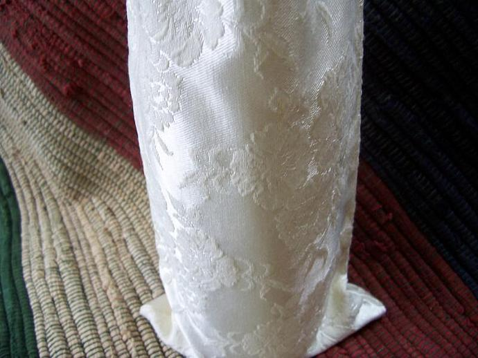Ivory Embossed Satin Wine Bag