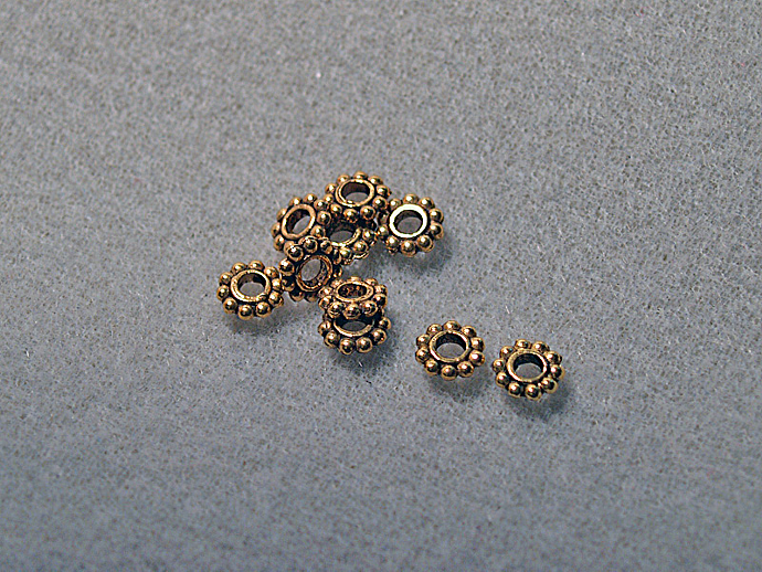 Lg. Hole Daisy Spacer Beads- antiqued gold