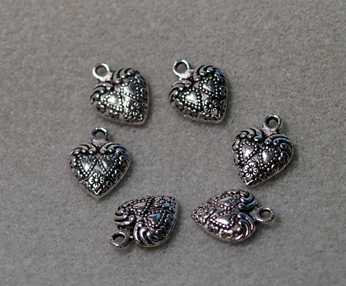 Silver Heart-  charm or pendant