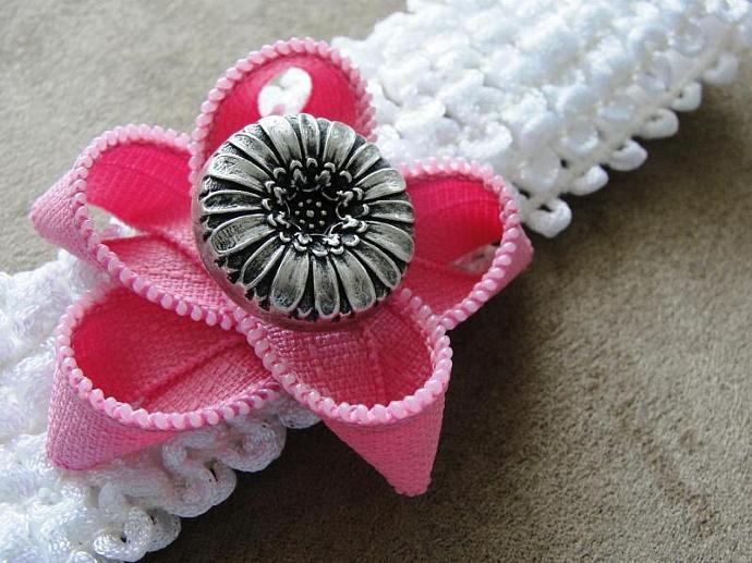 Zipper Flower Headband in Pink