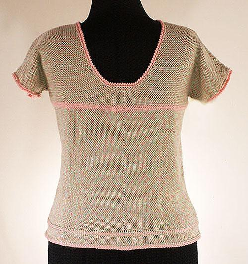 Cotton Low Back Cap Sleeve Sweater - Size Large