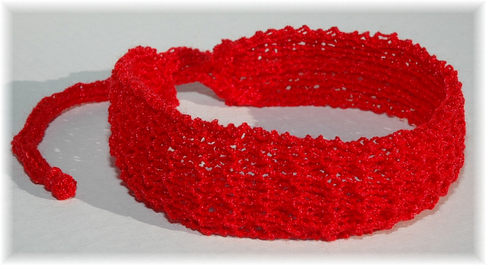 Red Knit Headband with Ties