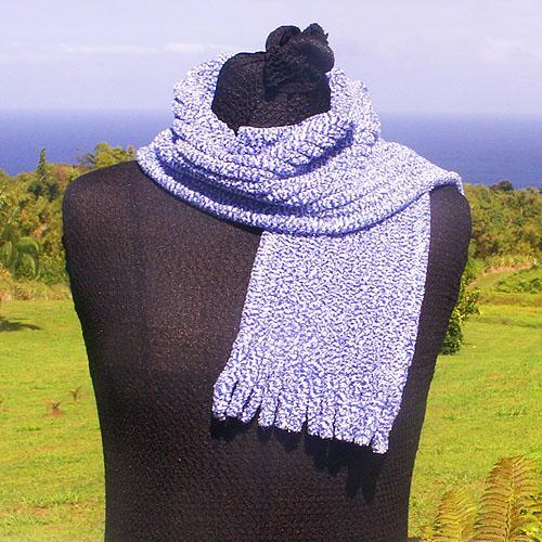 Blue Cotton Chenille Scarf