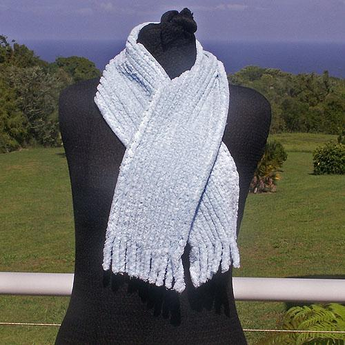 Light Blue Cotton Chenille Scarf
