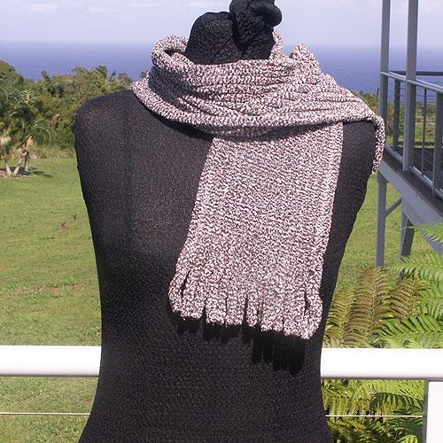 Coffee and Cream Cotton Chenille Scarf