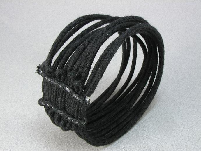 black loose string slip on cuff bracelet 933