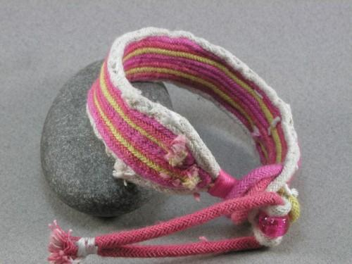 hot pink and yellow toggle bracelet small 427