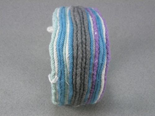 blue and grey beaded double toggle rope cuff bracelet sea glass mystery origins