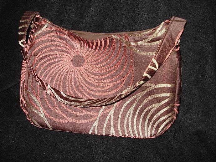 Upcycled Decorative Swirl Fabric Handbag