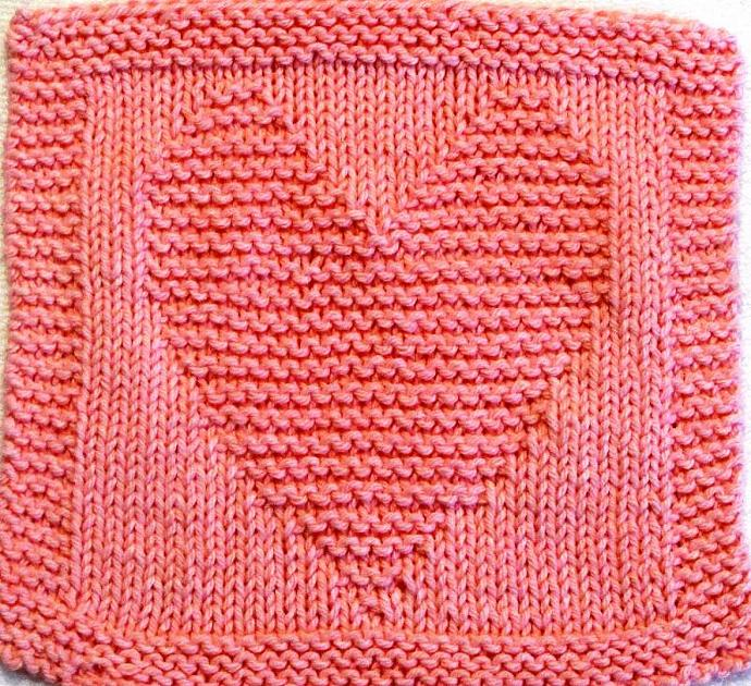 Knitting Cloth Pattern -  HEART - PDF