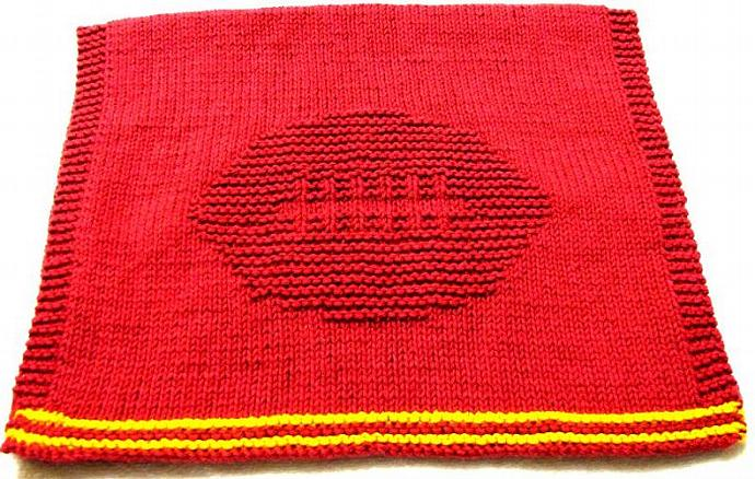 Knitting Patterns - Football Player Hand Towel - PDF