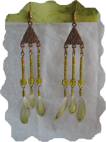 New Yellow and Gold Glass Bead, Feather Earrings