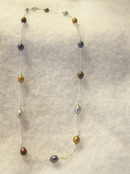 Metalic Pearl Multi-color Sterling Silver Necklace
