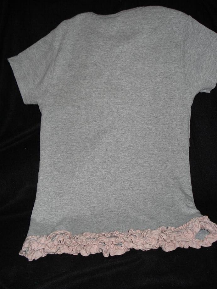 Grey T-Shirt with Pink Ruffle & Rosettes Youth Medium