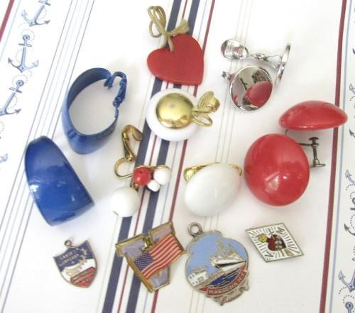Bright Patriotic Red White Blue Jewelry Findings