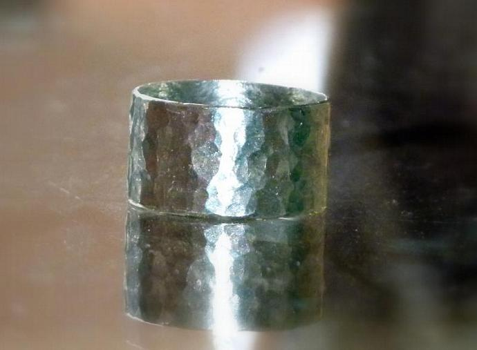 Handmade from Recycled Sterling Silver, Hammered & Textured Wide Band Stackable