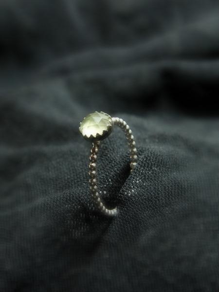 Natural Prehnite stackable sterling silver birthstone rings