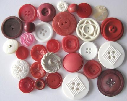 Red and White Vintage Button Packet of 30 For Your Sewing and Art