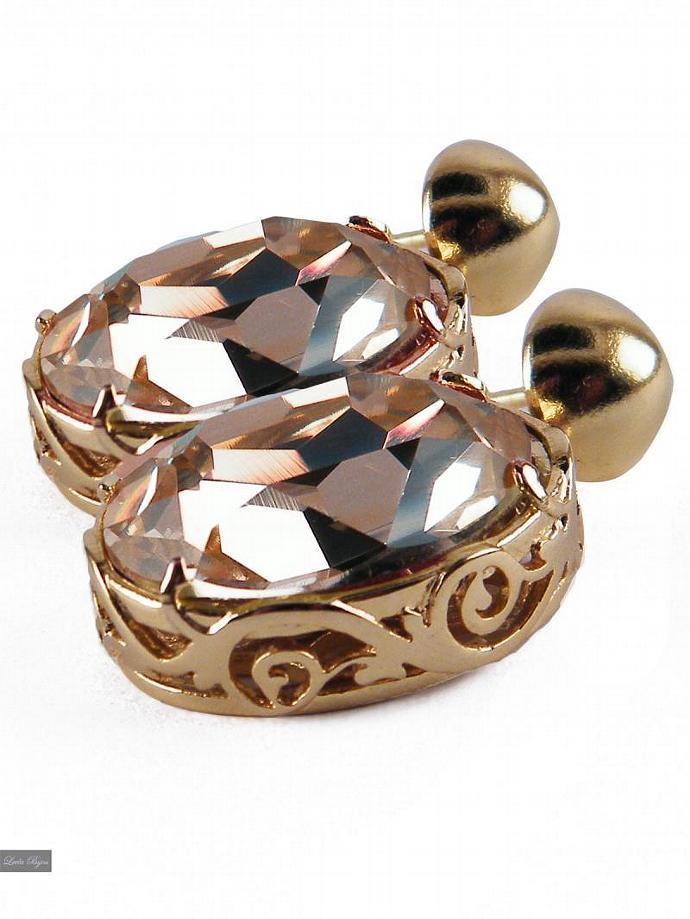 Galya Earrings - Peach  Swarovski Crystal Gold Plated