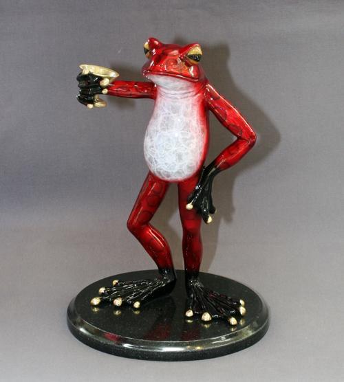 "Incredible Bronze ""Martini Frog"" Sculpture Figurine"