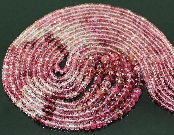 7 Row - 20 Inches - AAA - Superb Quality Shaded Pink Tourmaline Faceted Round