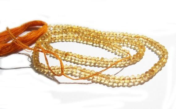Very Sparkling Finest - Citrine Quartz Faceted Beads Rondelles - 14 Inches -