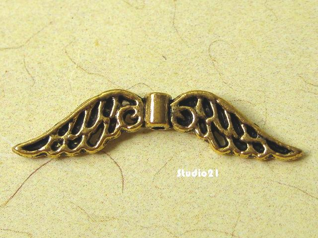 10 pcs of Tibetan Antique Gold Finish Angel Wing Connector/Link (CON-G7)