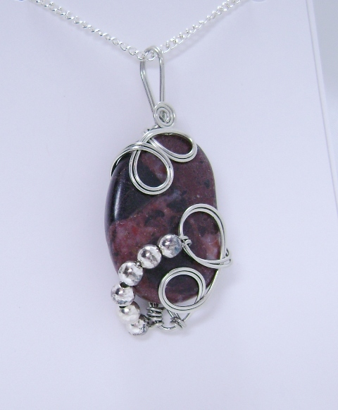 Wire-Wrapped Red-Brown Marble Pendant