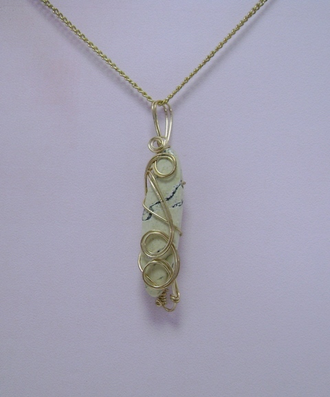 Wire-Wrapped African Turquoise Gemstone Pendant