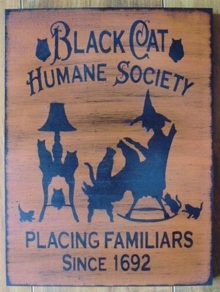 Primitive witch signs Black Cats halloween decorations Humane Society Signs