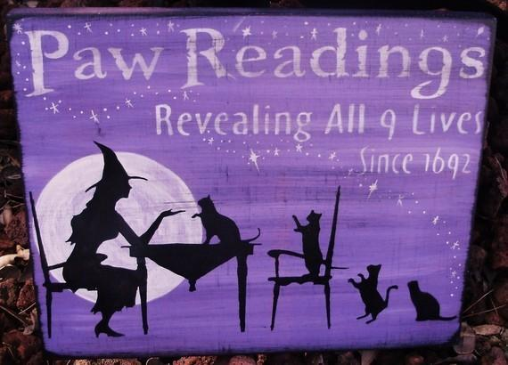 Primitive witches Cats Paw Readings Witch Cat Sign Plaques Purple Lavender