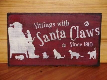 CATS Primitive Christmas Folk Art Sign Kittens Sittings With Santa Claws